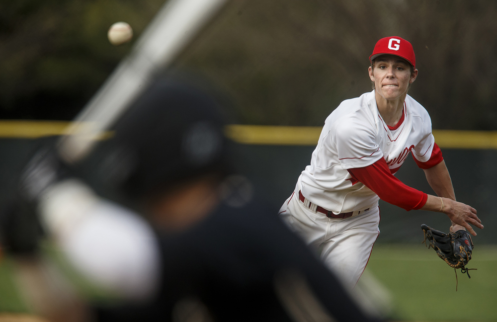 Chatham Glenwood's Nick Maton fires a pitch against Sacred Heart-Griffin Tuesday, April 7, 2015. Ted Schurter/The State Journal-Register