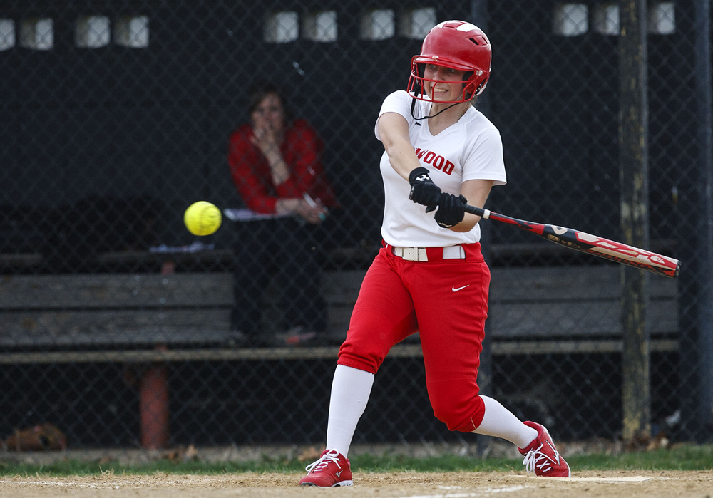 Chatham Glenwood's Alexa Brown gets on base with a single against Sacred Heart-Griffin at Sacred Heart-Griffin West Wednesday April 8, 2015. Ted Schurter/The State Journal-Register