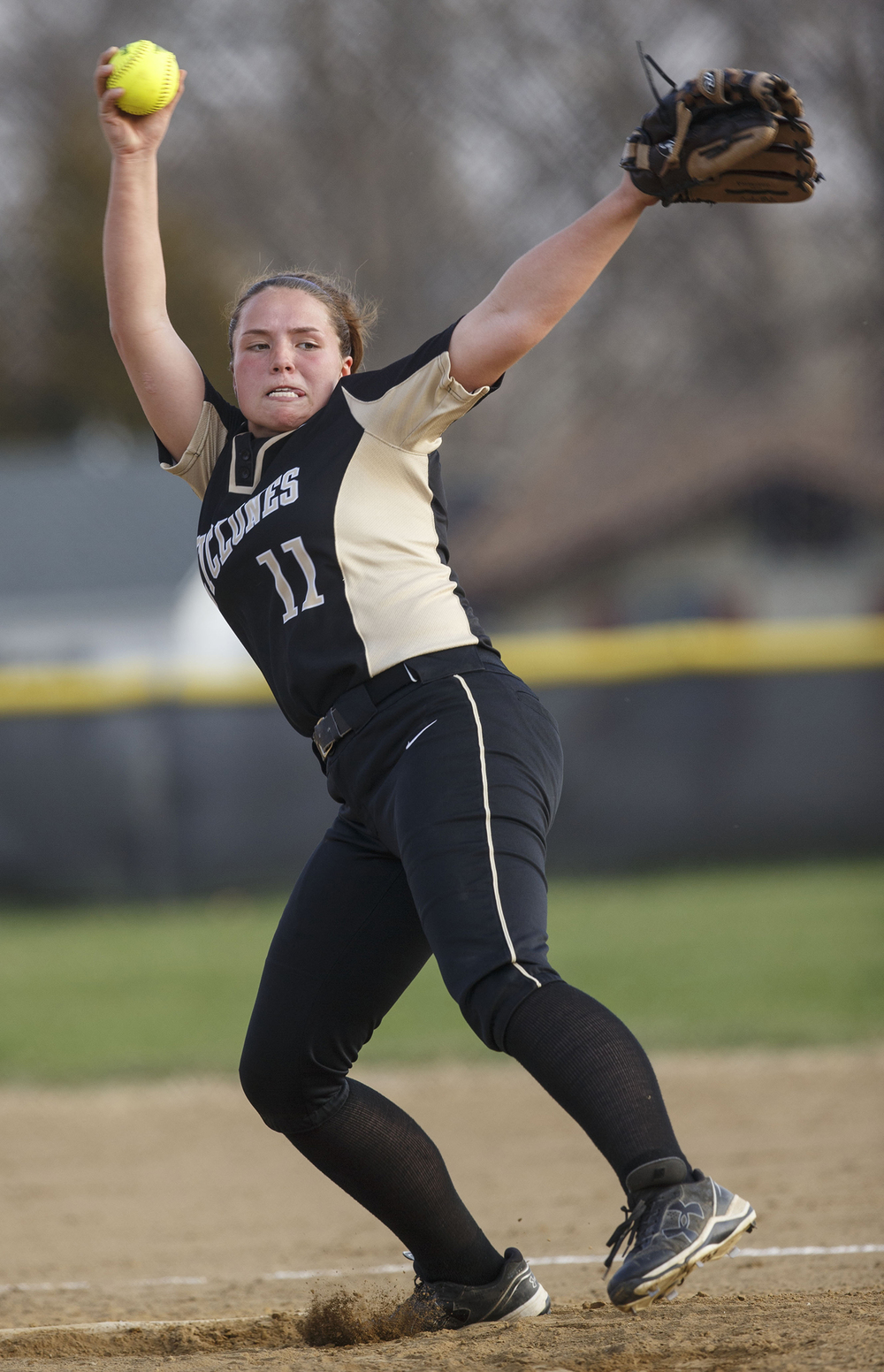 Sacred Heart-Griffin's Whitney David wins up for a pitch against Chatham Glenwood at Sacred Heart-Griffin West Wednesday April 8, 2015. Ted Schurter/The State Journal-Register