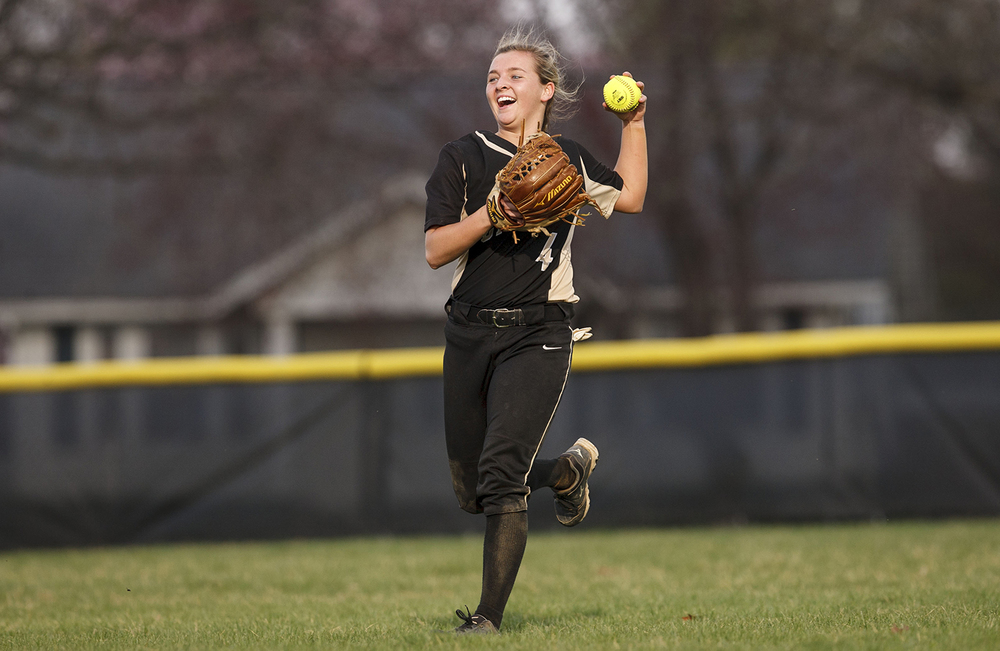 Sacred Heart-Griffin's Katie McLean is all smiles as she runs the ball in against Chatham Glenwood at Sacred Heart-Griffin West Wednesday April 8, 2015. Ted Schurter/The State Journal-Register