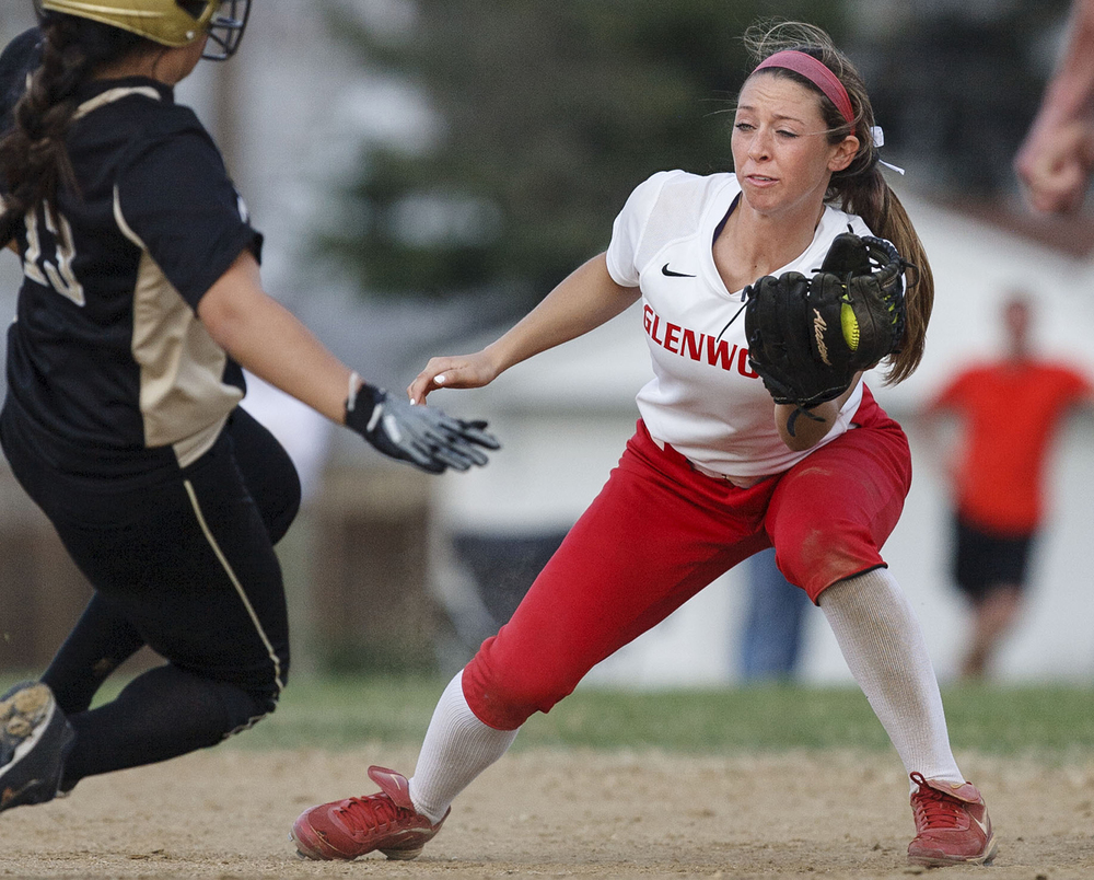 Chatham Glenwood's Parker Bandy tags Sacred Heart-Griffin's Claire Dodson out at second base at Sacred Heart-Griffin West Wednesday April 8, 2015. Ted Schurter/The State Journal-Register
