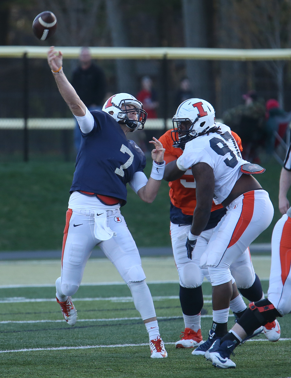 Illini quarterback Chayce Crouch lets a pass fly. David Spencer/The State Journal Register