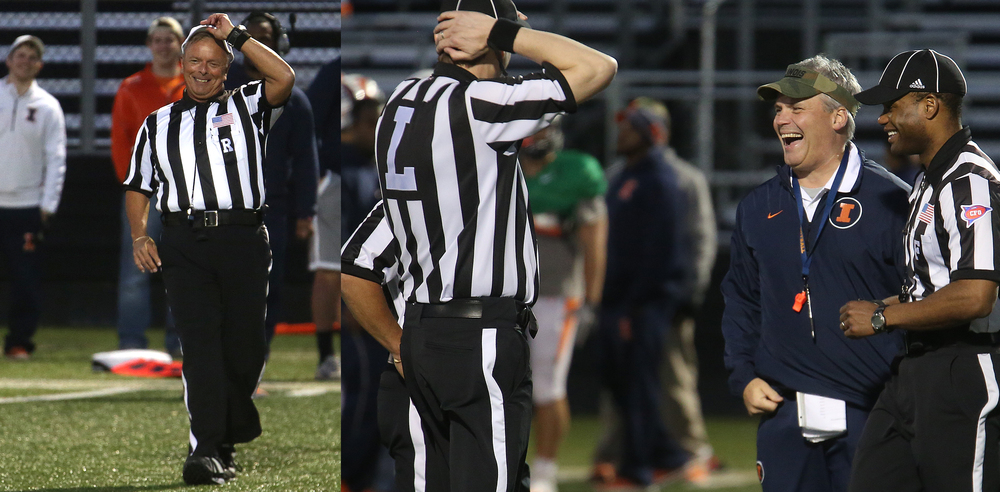 At left frame, a referee recovered gracefully after getting run over on a play. At right frame moments later, Illini head coach had a laugh over the incident near the end of the scrimmage. David Spencer/The State Journal Register