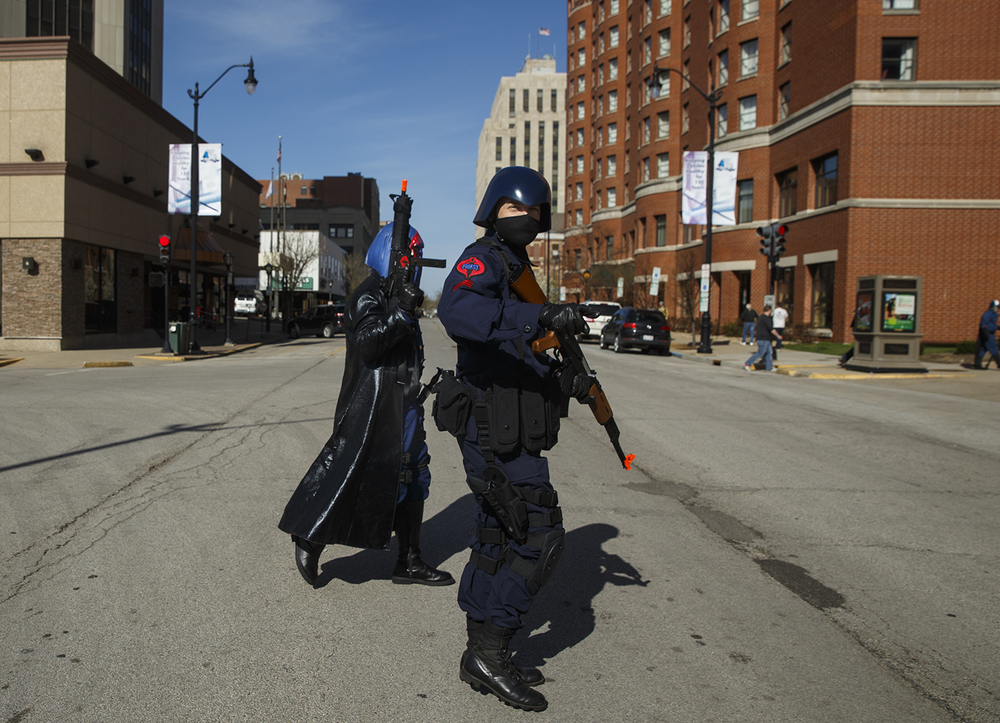 Alex Thorne and Chris Roberts of Kansas City, MO, head for the official G.I. Joe Collectors' Convention at the Prairie Capital Convention Center Saturday, April 11, 2015.  Ted Schurter/The State Journal-Register