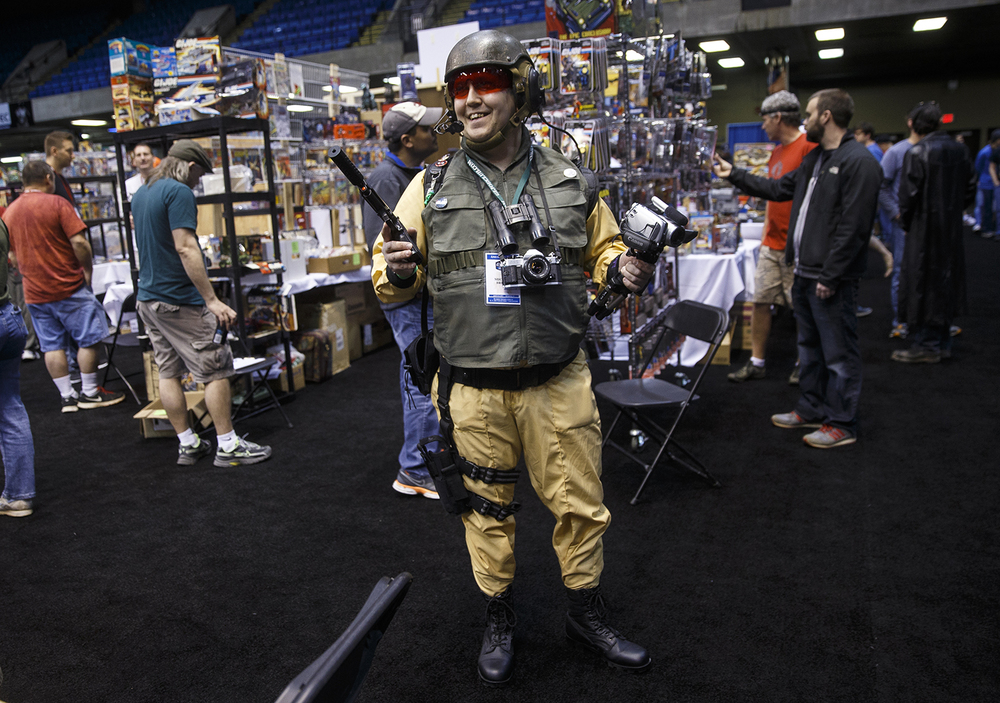 Michael Breaux prowls the floor as the character Scoop during the official G.I. Joe Collectors' Convention at the Prairie Capital Convention Center Saturday, April 11, 2015.  Ted Schurter/The State Journal-Register
