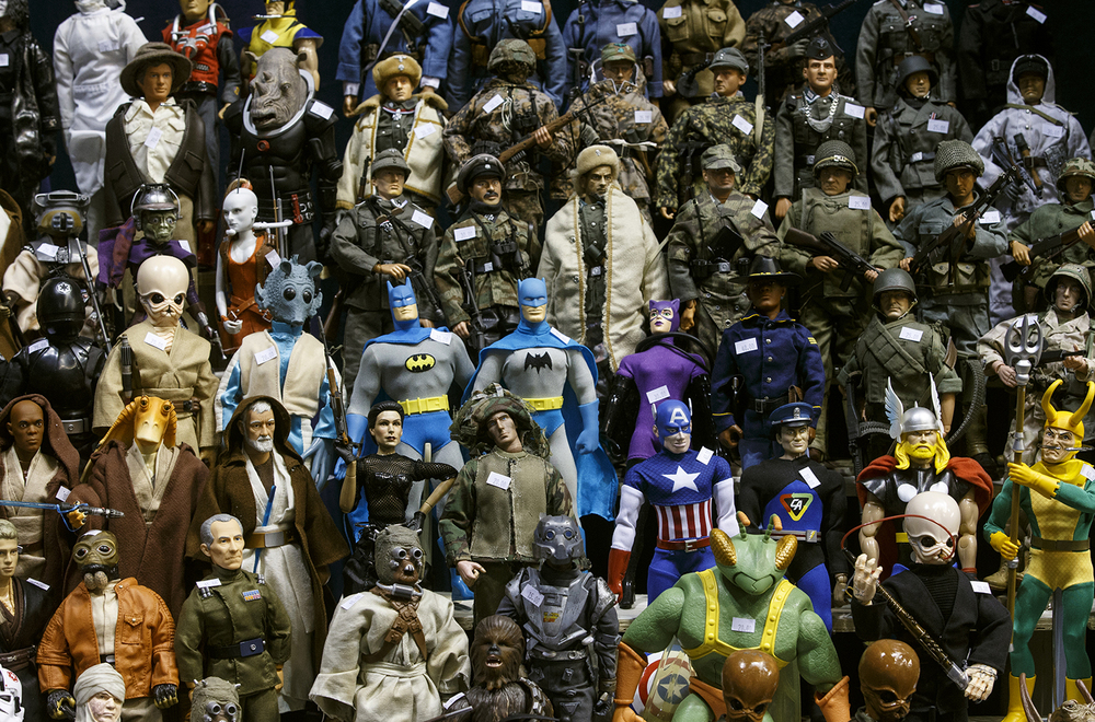Heroes and villains from multiple movies and shows shared shelf space during the official G.I. Joe Collectors' Convention at the Prairie Capital Convention Center Saturday, April 11, 2015. Ted Schurter/The State Journal-Register
