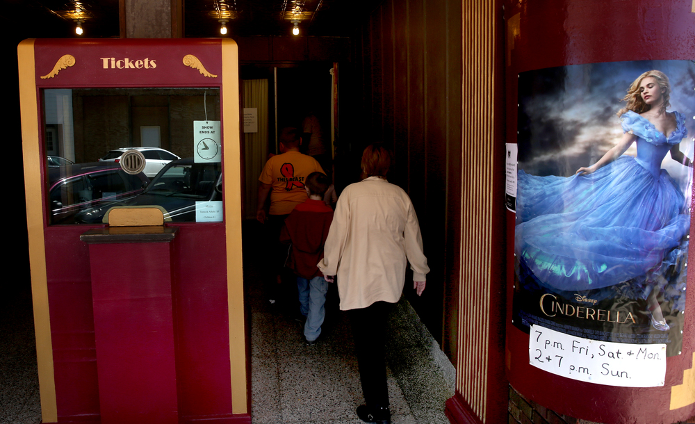 The old ticket booth greets patrons just outside the theatre, which will be showing family-friendly movies like Cinderella by Disney as well as Christian-themed movies. David Spencer/The State Journal-Register
