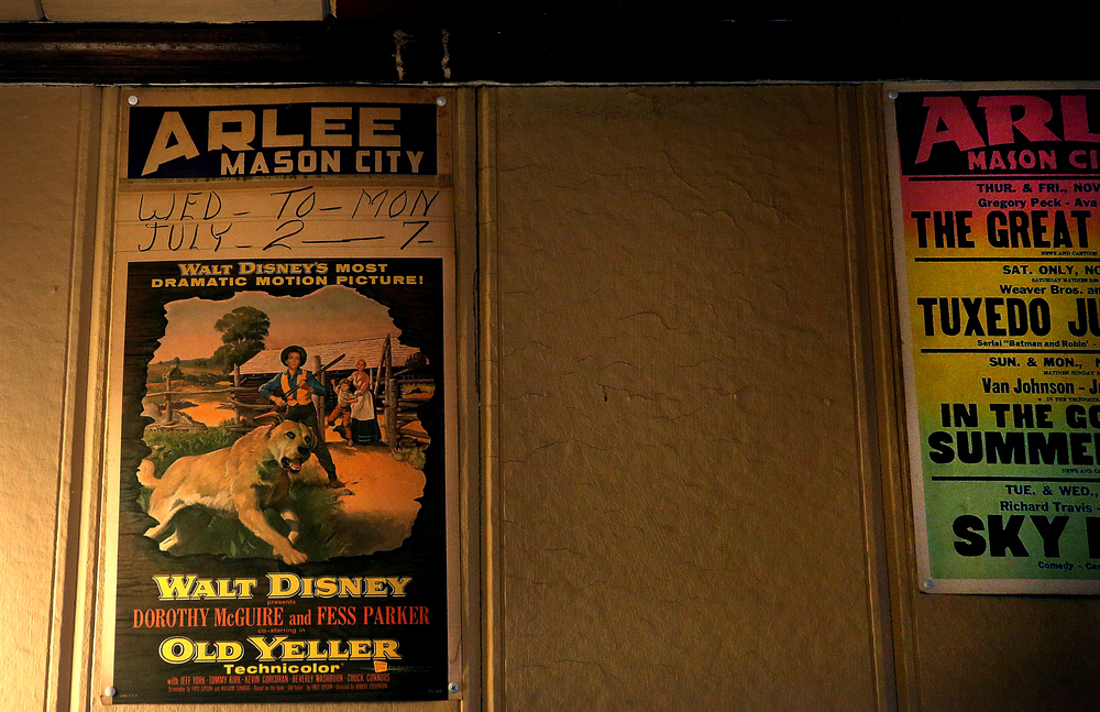 An original lobby card from the 1957 film Old Yeller shown at the Arlee is tacked to the wall inside the lobby. David Spencer/The State Journal-Register