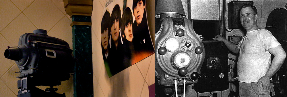 At left, one of the original Arlee movie projectors, which was actually used until very recently before the renovation, is displayed on a stand next to a large poster of the Beatles at the rear of the auditorium. At right, Bob Zimmerman, an Arlee projectionist and asst. manager for several years, is seen with one of the same projectors in an undated photo. Zimmerman was married to Laura Lee Zimmerman, a niece to the original owners of the theater. Left: David Spencer/The State Journal-Register. Right: photo courtesy Gaye Maxson