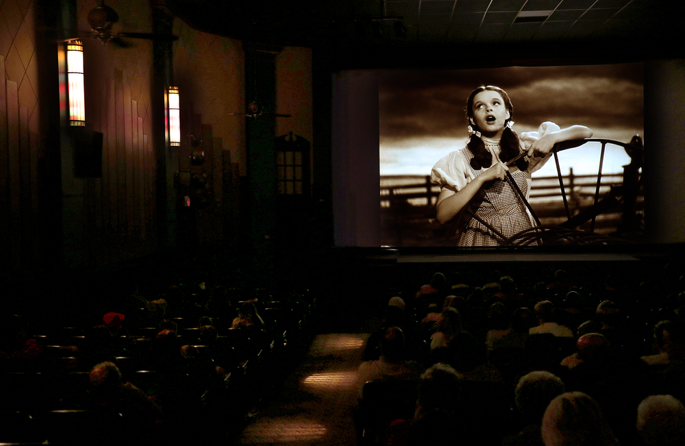 "Judy Garland in the role of Dorothy sings ""Over the Rainbow"" at the beginning of the movie ""The Wizard of Oz"" inside the darkened Arlee Theater auditorium. The movie was released in 1939.  David Spencer/The State Journal-Register"