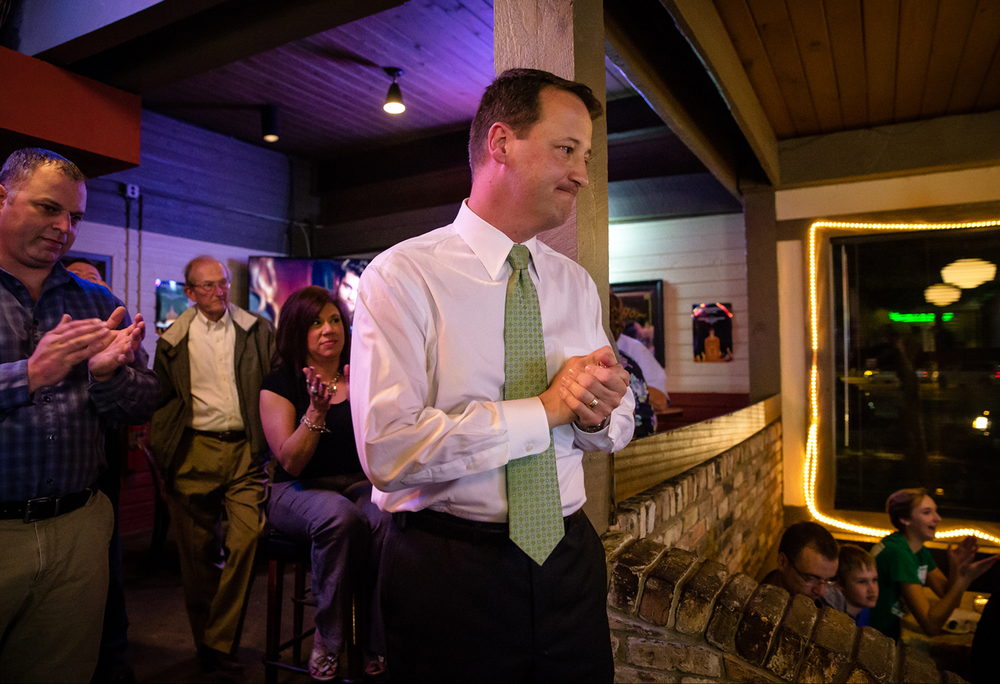 Jim Donelan thanks his family and supporters while delivering a speech at Alexander's Steakhouse as he holds a narrow margin over Tony Smarjesse in the race for alderman in Ward 9, Tuesday, April 7, 2015, in Springfield, Ill. Justin L. Fowler/The State Journal-Register