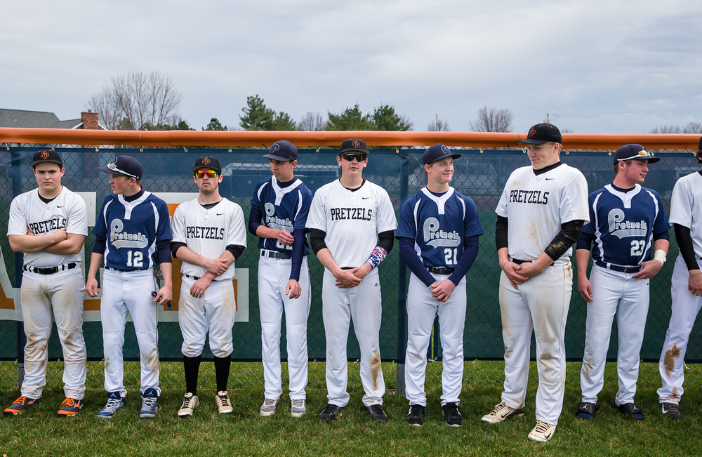 The Freeport Pretzels and the New Berlin Pretzels line up in alternating players as the teams that share the same mascot pose for a picture after a baseball game at New Berlin High School, Tuesday, April 7, 2015, in New Berlin, Ill. Justin L. Fowler/The State Journal-Register