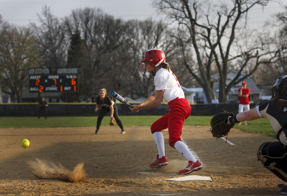 Chatham Glenwood's Madi Torry gets on base in the seventh inning as the Titans try to rally against Sacred Heart-Griffin at Sacred Heart-Griffin West Wednesday April 8, 2015. The Titans left three runners on at the end of the inning and lost 6-3. Ted Schurter/The State Journal-Register