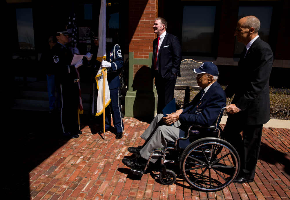 "Jim Cornelison, center, a singer with the Chicago Blackhawks, and Tuskegee Airman Lawton ""Wilk"" Wilkerson, right, prepare to go stage for the ""Abraham Lincoln: A Day of Remembrance"" event at Union Square Park, Wednesday, April 15, 2015, in Springfield, Ill. Justin L. Fowler/The State Journal-Register"