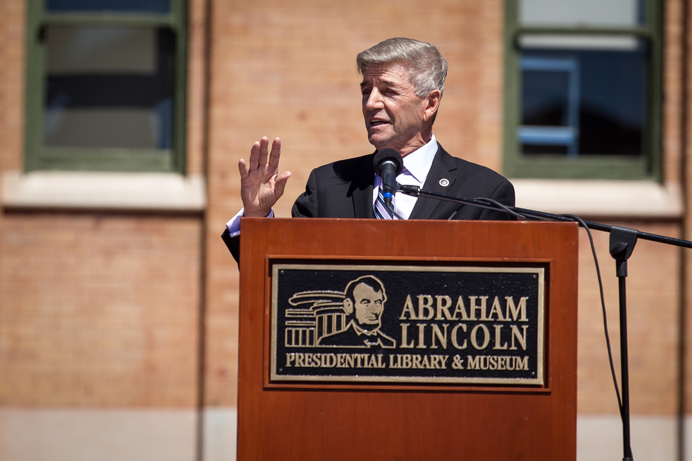 "Comedian Tom Dreesen delivers his keynote entitled ""Lincoln's Humanity"" during the ""Abraham Lincoln: A Day of Remembrance"" event at Union Square Park, Wednesday, April 15, 2015, in Springfield, Ill. Justin L. Fowler/The State Journal-Register"