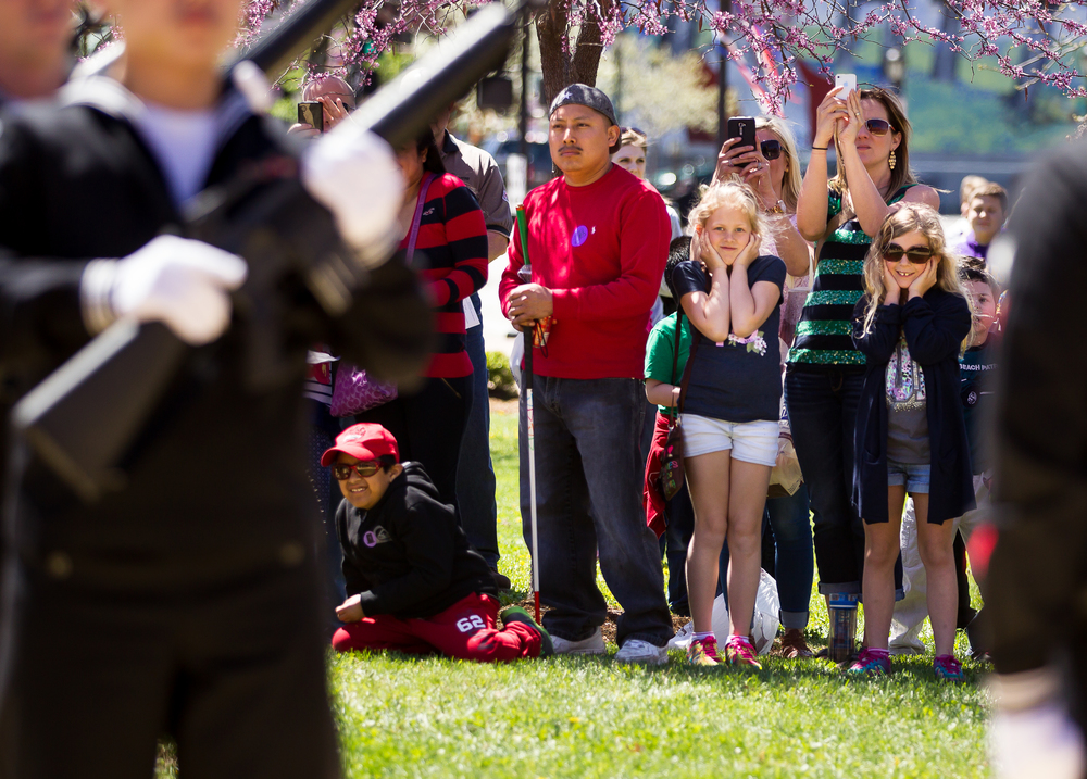 "Children plug their ears as they prepare for a 21 Gun Salute by the United States Navy during the ""Abraham Lincoln: A Day of Remembrance"" event at Union Square Park, Wednesday, April 15, 2015, in Springfield, Ill. Justin L. Fowler/The State Journal-Register"