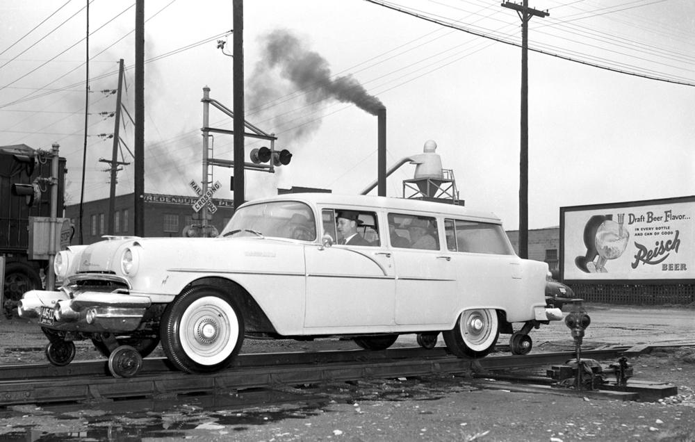 Automobile on railroad tracks; rail; train; transportation April 25, 1956. File/The State Journal-Register