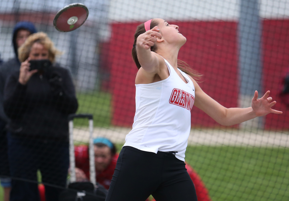 Glenwood's Elle Alexander, who won the girls discus event, shows off her form here, flinging the discus 137'. David Spencer/The State Journal-Register