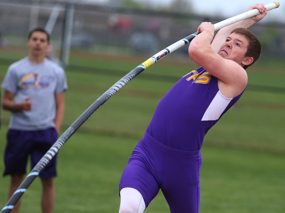 Taylorville's Michael Buckles won the boys pole vault event by clearing 13'. David Spencer/The State Journal-Register
