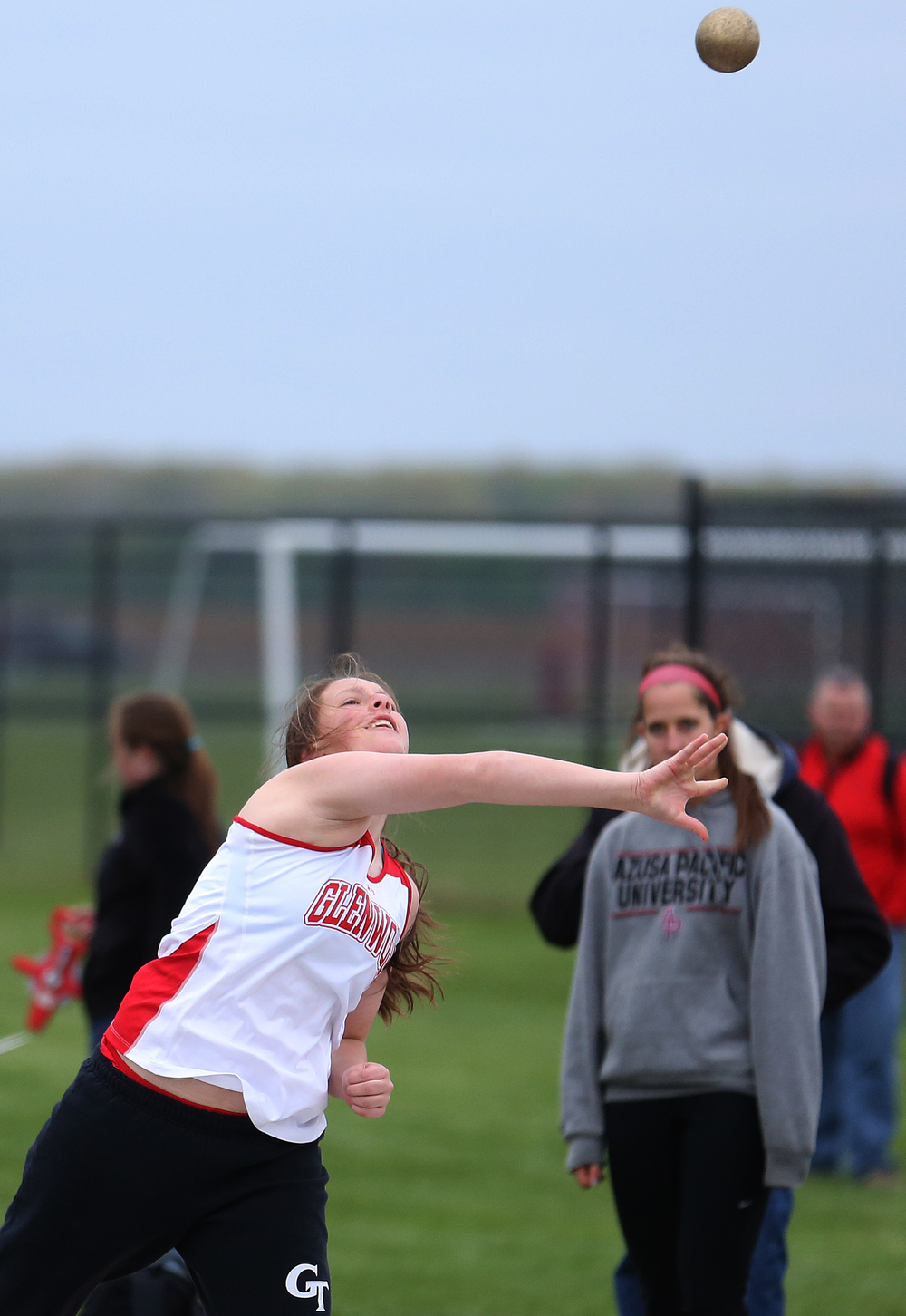 "Glenwood's Mackenzie Bray won the girls shot put event with a heave of 33' 6 3/4"". David Spencer/The State Journal-Register"