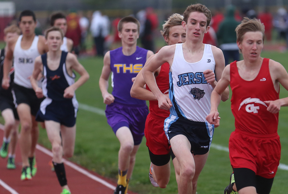 Jerseyville's Ben Flowers, 2nd from right, ended up winning the boys 3200 meter run with a time of 9:46. David Spencer/The State Journal-Register