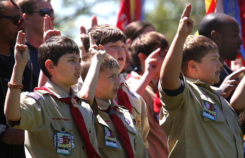 Boy scouts from across the Midwest recite the scout oath during the ceremony outside the Lincoln Tomb on Sunday. David Spencer/The State Journal-Register