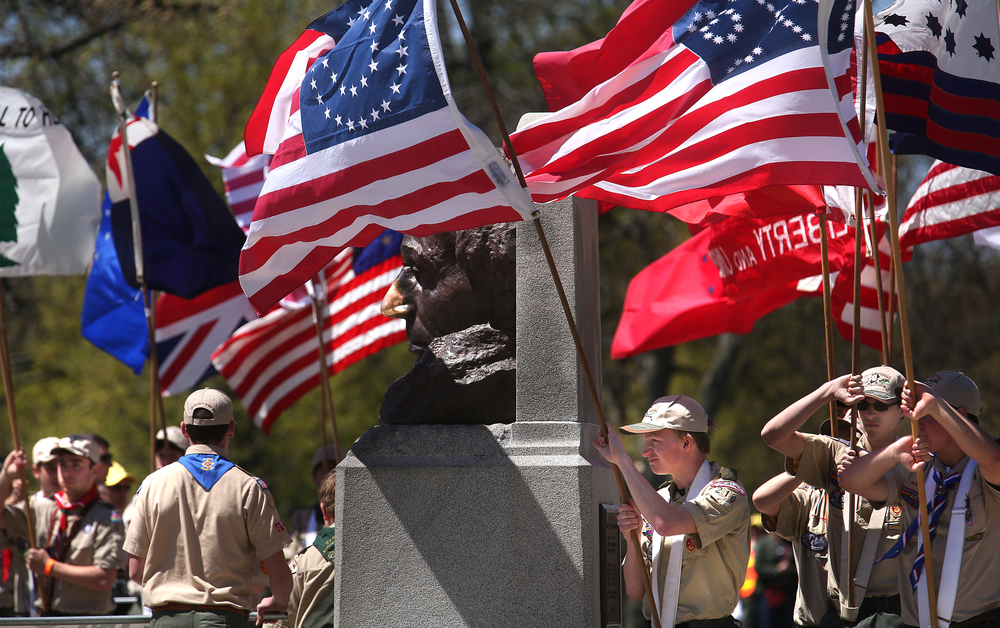 Members of the Eagle Scout Honor Guard encircled the bronze bust of Abraham Lincoln towards the end of the official wreath laying ceremony Sunday afternoon. David Spencer/The State Journal-Register