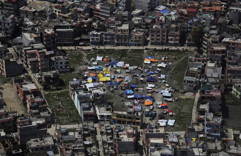 An aerial view of tents setup by residents in Kathmandu, Nepal, Monday, April 27, 2015. (AP Photo/Altaf Qadri)