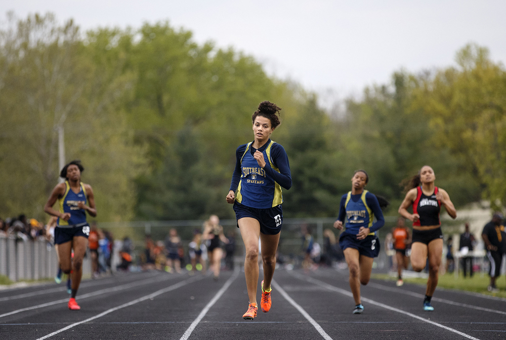 Southeast's Alexis Henry wins the 400 meter run during the 2015 Class AA Girls City meet at Southeast High School Wednesday, April 29, 2015. Ted Schurter/The State Journal-Register