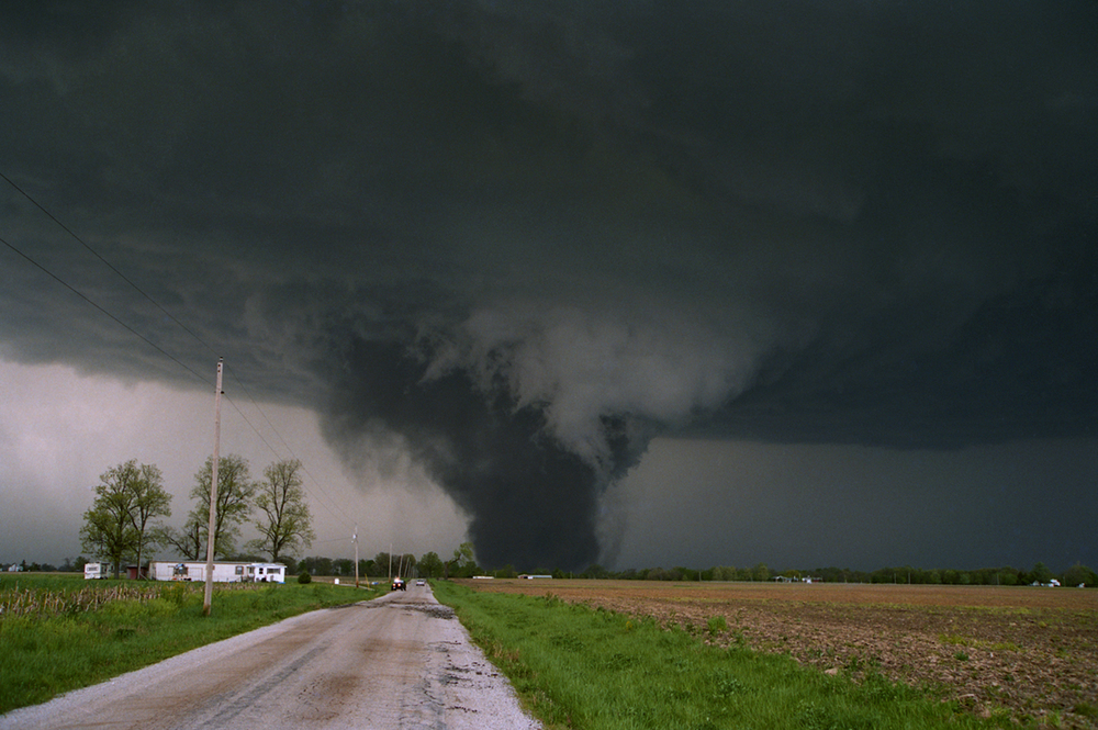 The tornado that tracked 40 miles across four counties on May 9, 1995, viewed from Cantrall Creek Road at the moment it tore through Cantrall. Photos by Rich Saal/The State Journal-Register
