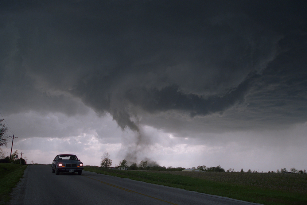 As rotating columns of air, tornadoes are nearly invisible when they first form. Not until they get close to the ground and pick up dirt and debris can you see them.