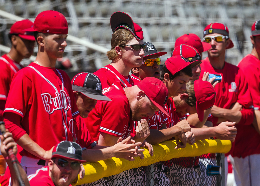 The Benedictine players in the dugout put on their rally caps as the Bulldogs trail Williams Baptist 10-7 in the ninth inning during the American Midwest Conference Tournament at Robin Roberts Stadium, Friday, May 1, 2015, in Springfield, Ill. Justin L. Fowler/The State Journal-Register