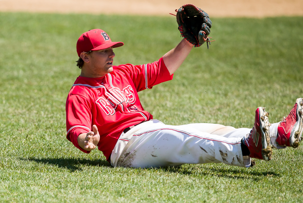 Benedictine third baseman Blake Gand loses his footing while trying to field a ground ball against Williams Baptist in the seventh inning during the American Midwest Conference Tournament at Robin Roberts Stadium, Friday, May 1, 2015, in Springfield, Ill. Justin L. Fowler/The State Journal-Register