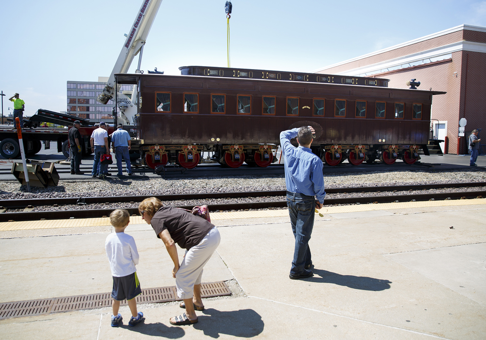 The Lincoln Funeral Car is placed on display at the Amtrak station Friday, May 1, 2015. The car is a full-scale, historically accurate reproduction of the train car that carried Lincoln's body and that of his son, Willie, back to Springfield after his assassination, arriving at the same station in May 1865. Rich Saal/The State Journal-Register