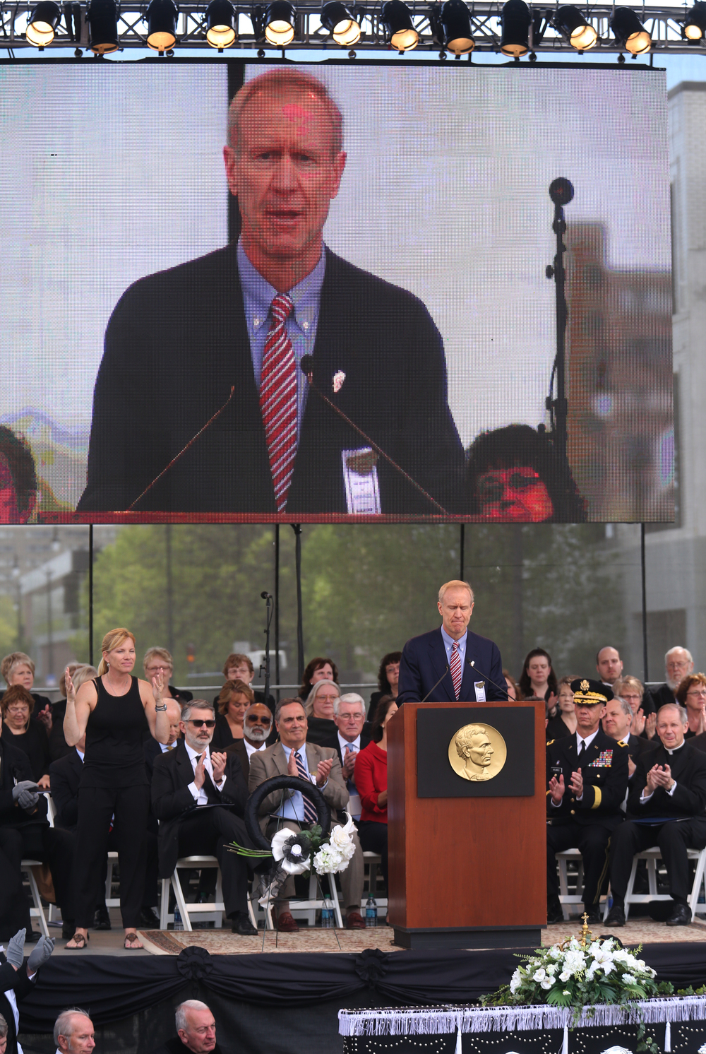 Ill Gov. Bruce Rauner delivered remarks during the Saturday ceremony.David Spencer/The State Journal-Register