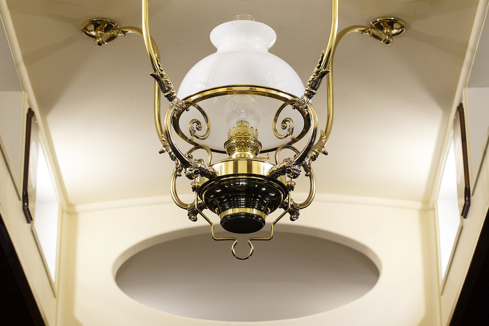 A  brass chandelier from the re-created Lincoln Funeral Train.  Ted Schurter/The State Journal-Register