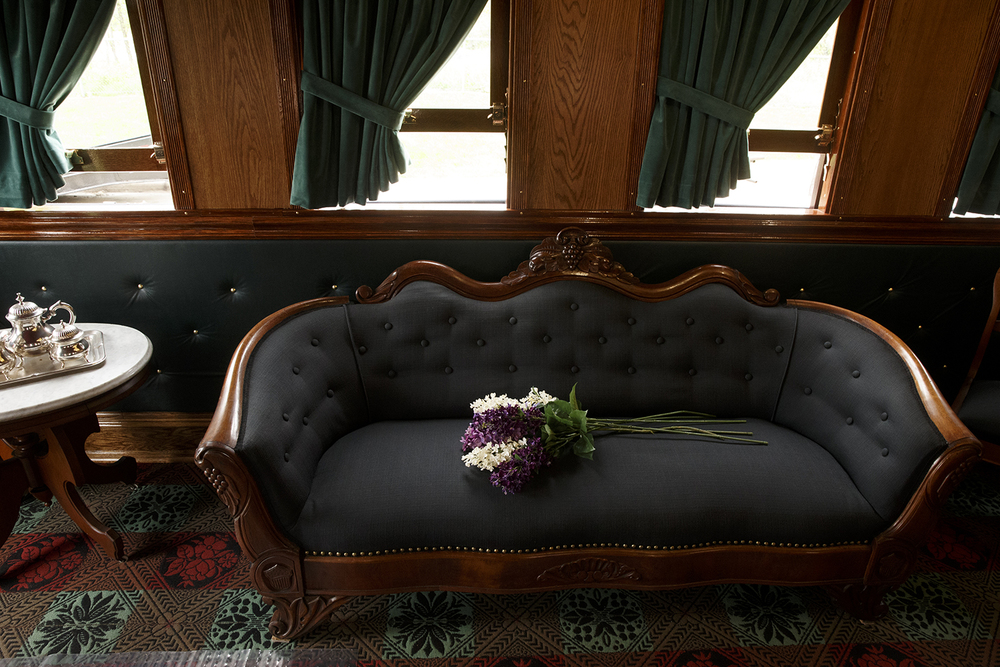 The interior of the re-built Lincoln Funeral Car is decorated with many pieces of period furniture and artifacts. Ted Schurter/The State Journal-Register