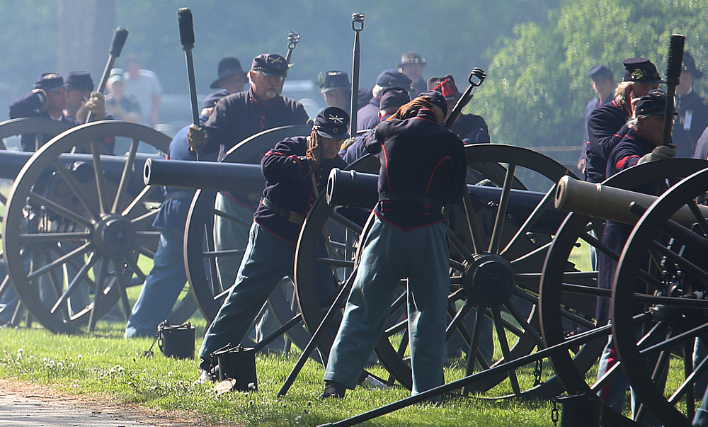 Thirty-six cannon rounds representing each state in the Union at the end of the Civil War, sounded as the funeral ceremony concluded Sunday at Oak Ridge Cemetery. David Spencer/The State Journal-Register