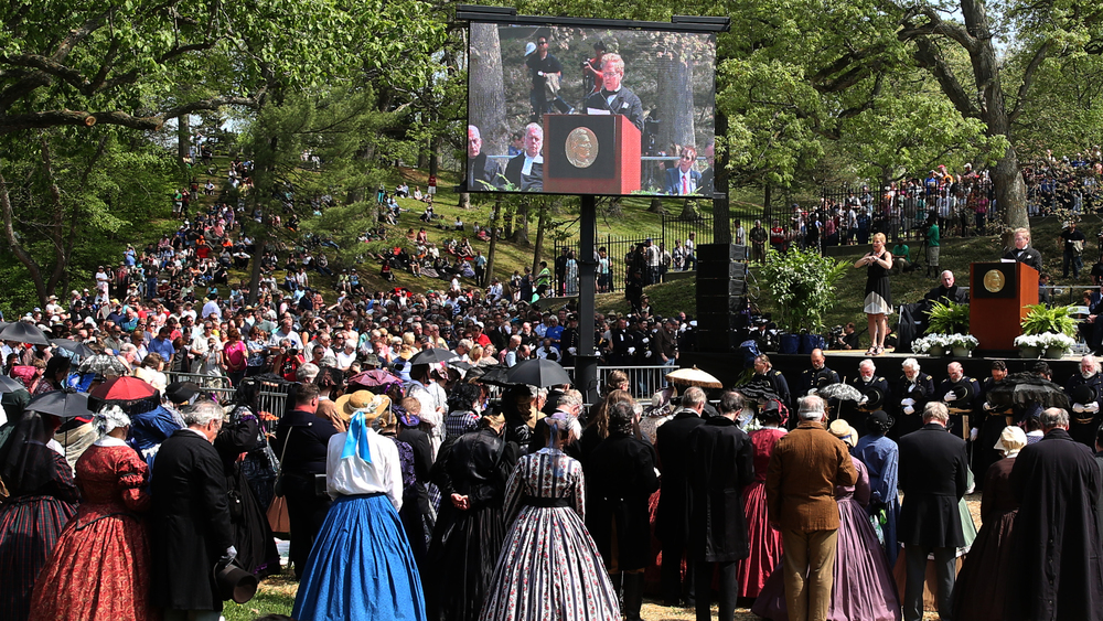 Speakers during the official ceremony inside Oak Ridge Cemetery Sunday afternoon spoke many of the same words uttered on Abraham Lincoln's funeral in 1865. David Spencer/The State Journal-Register