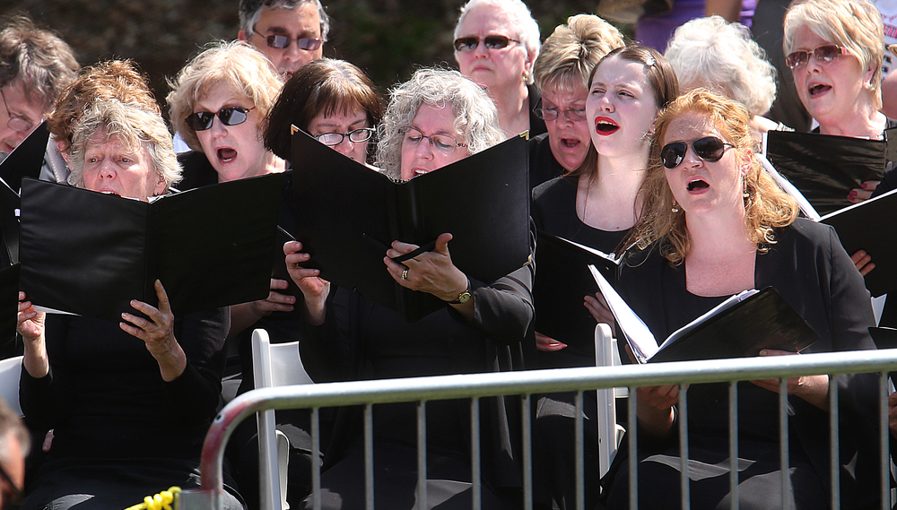 Members of the Springfield Choral Society under the direction of Marion van der Loo, sing hymns heard during the Lincoln funeral in 1865 Sunday at Oak Ridge Cemetery. David Spencer/The State Journal-Register