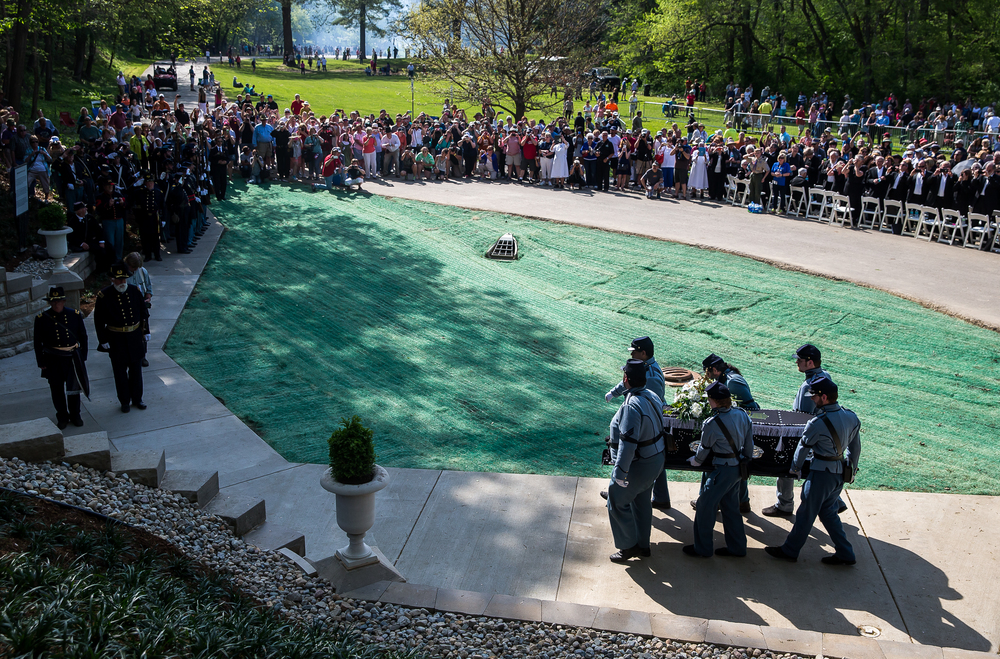 Lincoln's casket is carried by the Veterans Reserve Corps into the original receiving vault at Oak Ridge Cemetery during the 2015 Lincoln Funeral Re-enactment, Sunday, May 3, 2015, in Springfield, Ill. Justin L. Fowler/The State Journal-Register