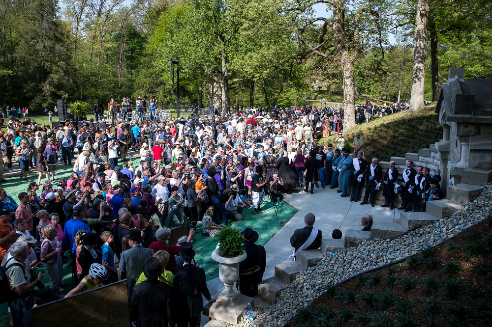 Crowds of people gather for the opportunity to photograph the pallbearers and members of the Veterans Reserve Corps standing in front of the original receiving vault in Oak Ridge Cemetery during the 2015 Lincoln Funeral Re-enactment, Sunday, May 3, 2015, in Springfield, Ill. Justin L. Fowler/The State Journal-Register