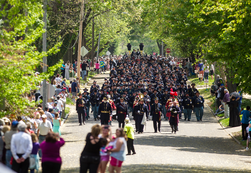 The funeral procession fills North Third Street as they make their way to Oak Ridge Cemetery and the receiving vault during the 2015 Lincoln Funeral Re-enactment, Sunday, May 3, 2015, in Springfield, Ill. Justin L. Fowler/The State Journal-Register