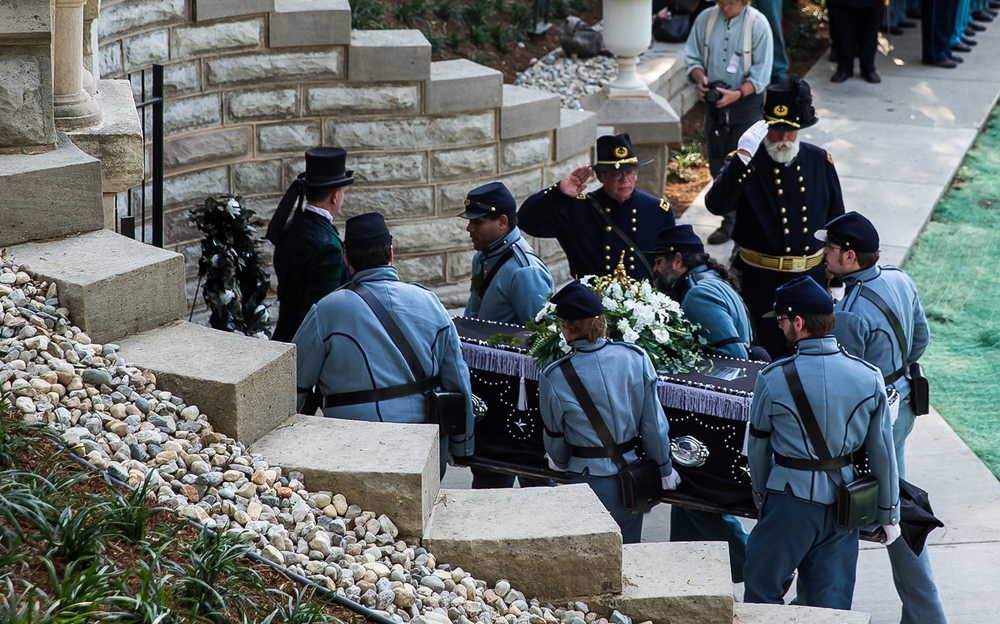 Lincoln's casket is placed inside the original receiving vault by the Veterans Reserve Corps at Oak Ridge Cemetery during the 2015 Lincoln Funeral Re-enactment, Sunday, May 3, 2015, in Springfield, Ill. Justin L. Fowler/The State Journal-Register