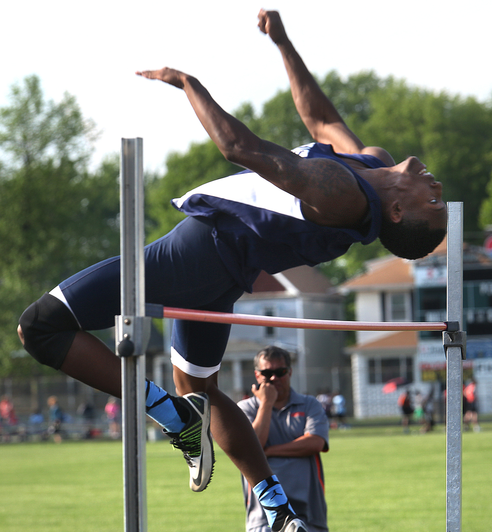 "Springfield Southeast High School's Sabree Bakari won the high jump with a leap of 6' 4"". The Boys City Track Meet took place at Memorial Stadium in Springfield on Tuesday, May 5, 2015. David Spencer/The State Journal-Register"