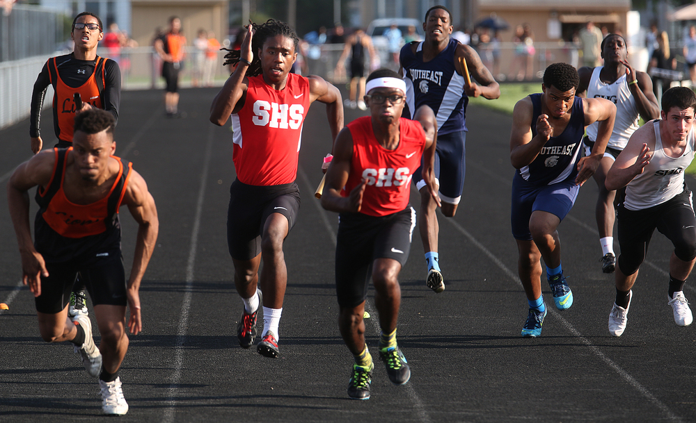 The 4 x 100 meter relay was won by Springfield at center in a time of 43.09 with the team made up of runners Wendel Burnes, Kamari Rowl, Nnamdi Onyewuchi and Alex Deleon. The Boys City Track Meet took place at Memorial Stadium in Springfield on Tuesday, May 5, 2015. David Spencer/The State Journal-Register