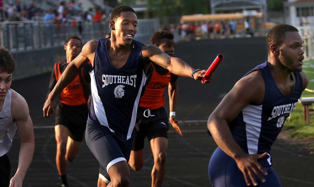 Springfield Southeast High School won the 4 x 200 meter relay in a time of 1:31.21 made up of runners Malik Brooks, Sabree Bakari, Daniel McShan and Edwin Gailes. The Boys City Track Meet took place at Memorial Stadium in Springfield on Tuesday, May 5, 2015. David Spencer/The State Journal-Register