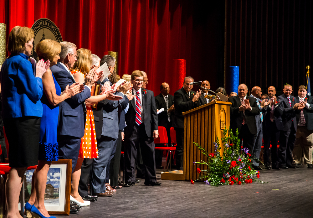 Mayor Jim Langfelder gets a standing ovation after delivering his Inaugural Address during the City of Springfield 2015 Inaugural Ceremony at the Sangamon Auditorium, Thursday, May 7, 2015, in Springfield, Ill. Justin L. Fowler/The State Journal-Register