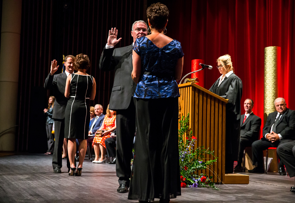 Ward 10 Ald. Ralph Hanauer takes the Oath of Office along with Ward 9 Ald. Jim Donelan during the City of Springfield 2015 Inaugural Ceremony at the Sangamon Auditorium, Thursday, May 7, 2015, in Springfield, Ill. Justin L. Fowler/The State Journal-Register