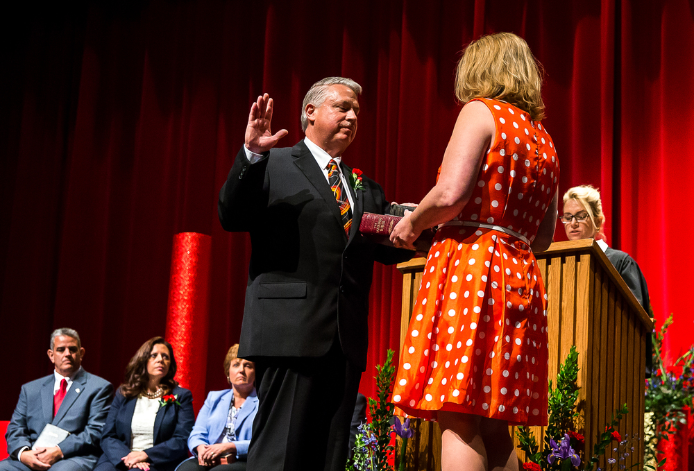 Frank Lesko takes the Oath of Office for City Clerk during the City of Springfield 2015 Inaugural Ceremony at the Sangamon Auditorium, Thursday, May 7, 2015, in Springfield, Ill. Justin L. Fowler/The State Journal-Register